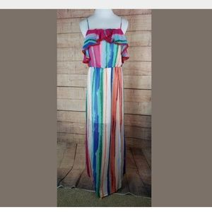 Candies Colorful Sheer Maxi Dress